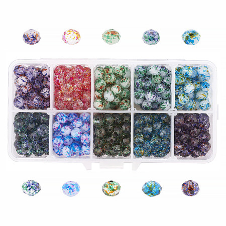 Globleland Spray Painted Glass Beads, Faceted, Rondelle, Mixed Color, 8x6mm, Hole: 1mm; about 40pcs/color, 400pcs