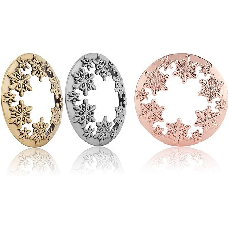 PandaHall Elite 3 Pack Candle Toppers Jar Snowflake Candle Accessories Shades Candle Cover Lids Shades Sleeves for Christmas Jar Candles, Antique Bronze Silver & Rose Gold