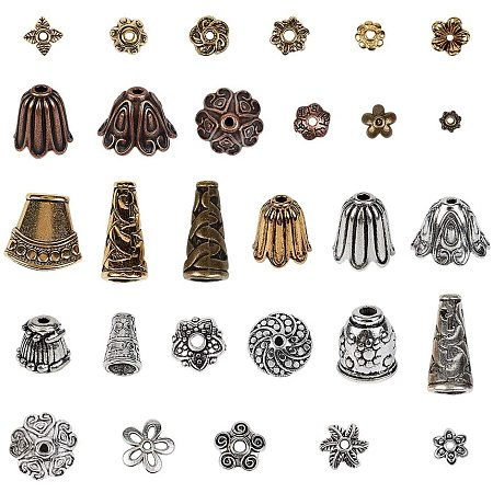 NBEADS 150g Mixed Shapes Tibetan Style Alloy Bead Caps, 30 Random Mixed Kinds of Metal Flower Cone Charm Column Spacer Beads for DIY Necklace Bracelet Arts Projects, Mixed Color