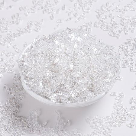 MIYUKI Quarter TILA Beads, Japanese Seed Beads, 2-Hole, (QTL160) Crystal Luster, 5x1.2x1.9mm, Hole: 0.8mm; about 480pcs/10g
