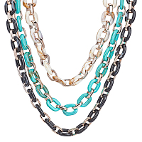 Imitation Gemstone Style Acrylic Handmade Cable Chains, with Rose Gold Plated CCB Plastic Lingking Ring, Oval, Floral White & Dark Turquoise & Black, Link: 23.5x17.5x4.5mm and 18.5x11.5x4.5mm, 39.37 inches(1m/strand), 3strands/set