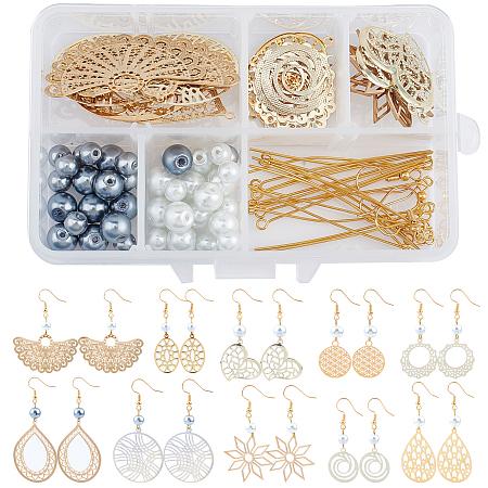 SUNNYCLUE DIY Filigree Pendant Earring Making Kits, include Glass Pearl Beads, Metal Links & Pendants & Eye Pin, Brass Earring Hooks, Golden, 29.5x29.5x1mm; 2pcs