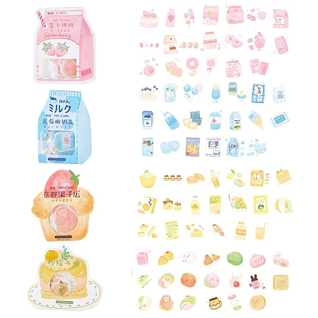 CRASPIRE Self Adhesive Food Stickers Set, for Scrapbooking Diary Planner Card Making, Mixed Color, 20pcs/set, 4sets/bag