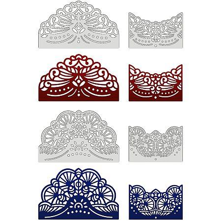 GLOBLELAND 4pcs Metal Lace Dorder Cutting Dies Stencils for DIY Scrapbooking Album Decorative Wedding Invitation Card Making