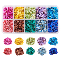 10 Colors Natural Shell Beads, No Hole Beads, Dyed, Chip, Mixed Color, 1~15x1~15x0.5~5mm; 10 colors, about 25g/color, 250g/box
