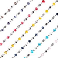 OLYCRAFT 14 Strands Glass Rondelle Beads Chains Crystal Glass Beads Chain with Antique Bronze Eye Pin for Necklaces Bracelets Jewelry Making
