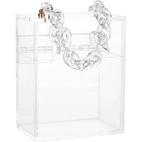 Pandahall Elite Gift Box Bracelet Handle Acrylic Wedding Card Box with Swing Lid for Displaying Birthdays Valentines Day Christmas Grooms Gifts 12.2x8x15.2cm /4.8x3.18x6