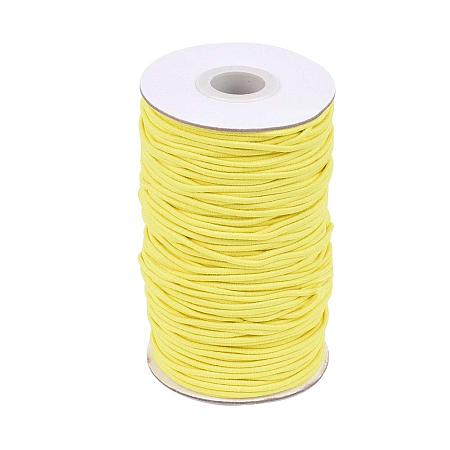 NBEADS A Roll of 70m Round Elastic Cord Beading Crafting Stretch String, with Fiber Outside and Rubber Inside, Yellow, 2mm