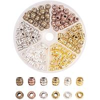 Tibetan Style Alloy Large Hole Beads, Barrel, Mixed Color, 8x8mm, Hole: 3.5mm; 20pcs/color, 120pcs/box