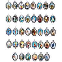 PH PandaHall 100pcs Pendant Trays Kit, 50pcs Pendant Trays Oval Bezels with 50pcs Jesus and The Virgin Glass Dome Tiles for Crafting DIY Jewelry Making, 18x13mm