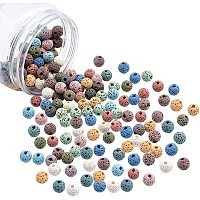 NBEADS 1 Box About 150 Pcs Natural Dyed Lava Beads, 8.5mm Colored Unwaxed Round Loose Beads for Perfume Essential Oil Beads, Aromatherapy Beads, Hole: 1.5~2mm