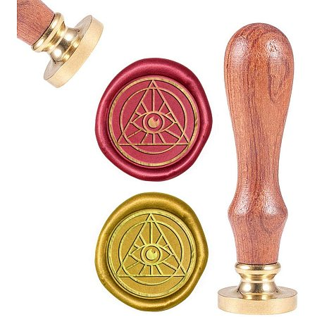 CRASPIRE Egypt Eye Wax Seal Stamp, Sealing Wax Stamps Retro Wood Stamp Wax Seal 25mm Removable Brass Seal Wood Handle for Envelopes Invitations Wedding Embellishment Bottle Decoration