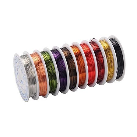 ARRICRAFT 10 Rolls (6m/Roll) Mixed Color 0.6 mm Copper Wire Jewelry Beading Wire for Crafting Beading Jewelry Making