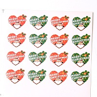 Arricraft Colorful Heart with Santa Claus Pattern DIY Label Paster Picture Stickers for Christmas 16.7x16.3cm