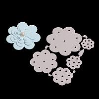 Flower Frame Carbon Steel Cutting Dies Stencils, for DIY Scrapbooking/Photo Album, Decorative Embossing DIY Paper Card, Matte Platinum, 6.5x4.8x0.08cm