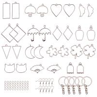 SUNNYCLUE 30PCS Open Bezel Charm Pendants Pressed Geometric Flower Mixed Blank Frame Hollow Mould 15 Styles & Iron Key Chain Ring & Earring Hooks for UV Resin Earrings Keyring Jewelry Making Platinum