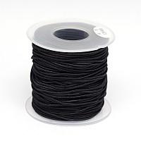 Round Elastic Cord Wrapped by Nylon Thread, Black, 1mm; about 40m/roll