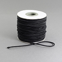Round Elastic Cord with Nylon Outside and Rubber Inside for DIY Disposable Mouth Cover, Black, 2mm; 40m/roll