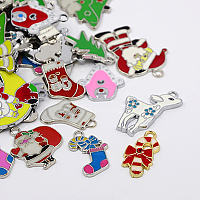 Arricraft About 100 Pieces Mixed Color Christmas Theme Alloy Enamel Pendants for Christmas Day