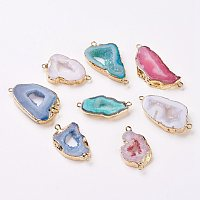 Arricraft Electroplate Natural Druzy Geode Quartz Crystal Links/Connectors, with Brass Findings, Nuggets, Golden, Mixed Color, 22~45x10~35x4~5.5mm, Hole: 2mm