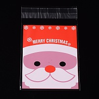 Arricraft 1 Bag Christmas Santa Claus Pattern Sealing Cellophane Bags Flat Cello Wrap Flap Resealable Bags  for Christmas Candy Cookie Bakery Jewelry Retail Party Gifts 13x8cm