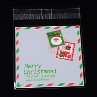Arricraft 1 Bag Christmas Stamps Pattern Sealing Cellophane Bags Flat Cello Wrap Flap Resealable Bags  for Christmas Candy Cookie Bakery Jewelry Retail Party Gifts 13.1x9.9cm
