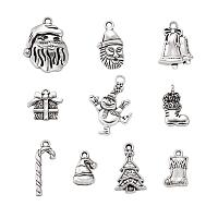 Arricraft 30Pcs Tibetan Antique Silver Christmas Theme Charms Collections Mixed Metal 10 Styles Snowman Santa Claus Sleigh Candy Cane Bell Christmas Tree Pendants 16~29x9~19.5mm