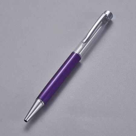 ARRICRAFT Creative Empty Tube Ballpoint Pens, with Black Ink Refill Inside, for DIY Glitter Epoxy Resin Crystal Ballpoint Pen Herbarium Pen Making, Silver, Indigo, 140x10mm