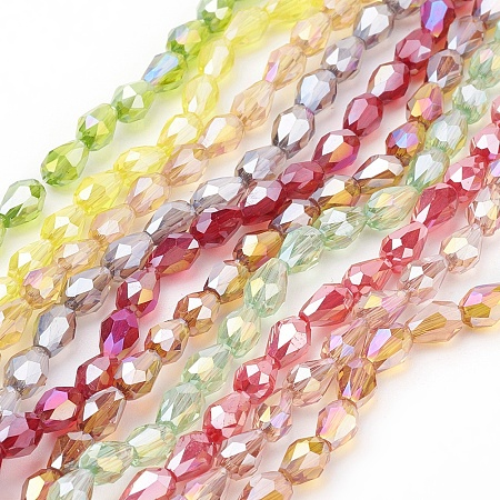 ARRICRAFT Electroplate Glass Beads, AB Color, Faceted, teardrop, Mixed Color, 6x4x4mm, Hole: 1mm; about 7.3g/strand