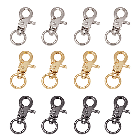 PandaHall 24pcs 3 Colors Swivel Trigger Snap Hooks Quality Metal Clips Lobster Clasp O Ring for Keychain, Key Rings, DIY Bags and Jewelry Findings Gunmetal