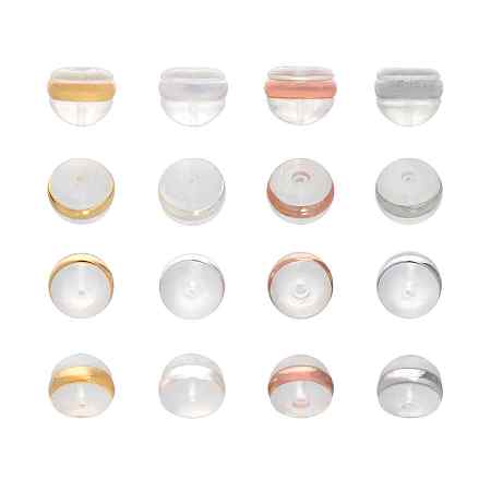 PandaHall 16 Pairs(32pcs) 4 Colors Silicone Ear Nuts, Secure Soft Clear Earring Backs with Stainless Steel Accessories for Jewelry Making, 5.5x4mm (Golden/Silver/Rose Gold/Stainless Steel)
