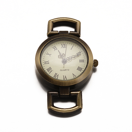 Alloy Watch Face Watch Head Watch Components, Flat Round, Antique Bronze, 29x27x5mm, Hole: 10x5mm