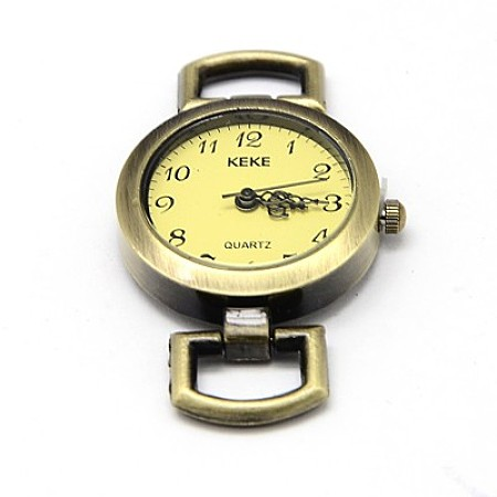Alloy Watch Face Watch Head Watch Components, Flat Round, Antique Bronze, 29x26.5x9mm, Hole: 10x5mm