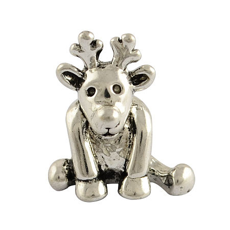 Arricraft 10pcs Tibetan Style Alloy Christmas Reindeer/Stag European Beads, Large Hole Beads, Lead Free & Nickel Free