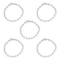 Unicraftale 304 Stainless Steel Ball Chain Bracelets, with Lobster Claw Clasps, for Women, Stainless Steel Color, 7-1/2 inches(19cm); 5strands/box
