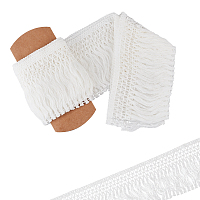 Gorgecraft Cotton Lace Ribbon Edge Trimmings, Tassel Ribbon, for Sewing Cloth Craft, White, 4 inches(100mm), 5yards/roll(4.57m/roll)
