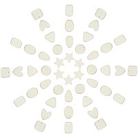 SUNNYCLUE Spray Painted Natural Wood Beads, Lead Free, Heart & Triangle & Square & Teardrop & Rectangle & Oval, Beige, 14~18.5x5.5~17x5.5~6mm, Hole: 1.2mm, 64pcs/box