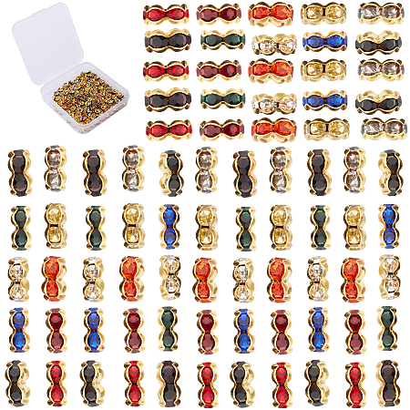 SUNNYCLUE Brass Rhinestone Spacer Beads, Grade A, Wavy Edge, Golden Metal Color, Rondelle, Mixed Color, 6x3mm, Hole: 1mm; 10 Colors, 20pcs/color, 200pcs/box