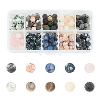 Natural Mixed Gemstone Beads, Frosted, Round, 8~8.5mm, Hole: 1mm; 200pcs/box