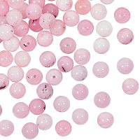 Olycraft Natural Cherry Blossom Jasper Beads Strands, Round, 8mm, Hole: 1mm; about 47pcs/strand, 15.5 inches, 2strands/box