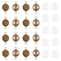 ARRICRAFT DIY Link Making Kits,include Flat Round Brass Cabochon Connector Settings, Plain Edge Bezel Cups and Dome Transparent Glass Cabochons, Antique Bronze, Setting: 20x12x2mm, Tray: 10mm, Hole: 2.5mm, 30pcs/box