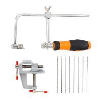 PANDAHALL ELITE DIY Tool Sets, Scroll Jig Saw Blades Spiral Teeth, Aluminum Mini Table Bench Vise, Adjustable Carbon Steel Hacksaw, Mixed Color, 10pcs/set