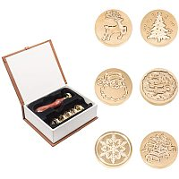 Arricraft 6 Pack Christmas Wax Seal Stamp, Christmas Tree Father Reindeer Snowflake Sealing Wax Stamps for Envelopes, Christmas Party Invitations, Wine Packages, Gift Packing