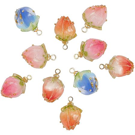 SUNNYCLUE Handmade Dried Flower Pendants, Covered with Clear Epoxy Resin, with Brass Peg Bails and Glass Micro Beads, Bud, Golden, Mixed Color, 14~15x9~10x9~10mm, Hole: 1.2mm, 10pcs/box