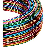 BENECREAT Multicoloured Jewelry Craft Aluminum Wire (15 Gauge, 136 Feet) Bendable Metal Wire with Storage Box for Jewelry Beading Craft Project - Gold, Green, Red, Purple, Blue