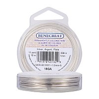 BENECREAT 18-Gauge Tarnish Resistant Silver Coil Wire, 33-Feet/11-Yard