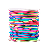 PandaHall Elite 1 Roll 49 Yards 1.5mm Rainbow Round Rubber Fabric Crafting Elastic Thread for Jewelry Making