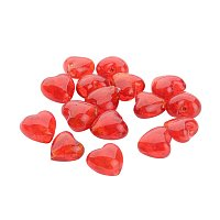 NBEADS 200Pcs Valentine Gifts for Her Ideas Handmade Silver Foil Glass Beads, Heart, Red, 12x12x8mm, Hole: 2mm