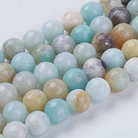 Natural Amazonite Beads, Faceted, Round, Colorful, 8mm, Hole: 1mm; about 50pcs/strand, 15.7 inches