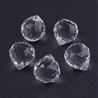 NBEADS 65 Pcs Glass Pendants, Crystal Suncatcher, Ball-Shaped, White, 20mm in Diameter, 23mm Thick Hole:2mm